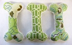 Squeaky Plush Dog Bone Toy Green & Ivory by TheThimbleAndHound