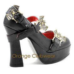 DEMONIA DEMON-15 Gothic Punk Platform Shoes Pumps Bats