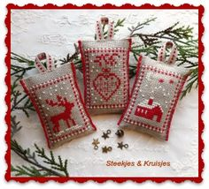 Xmas Cross Stitch, Cross Stitch Samplers, Cross Stitching, Cross Stitch Embroidery, Cross Stitch Patterns, Woodland Christmas, Miniature Christmas, Christmas Cross, Winter Christmas