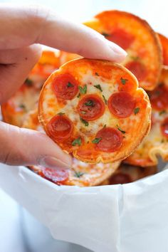 Easy recipe for mini pizza.. #TortillaBase #TomatoSause #YourChoiceOfToping Mini Deep Dish Pizzas - These 5-ingredient mini pizzas are unbelievably easy…