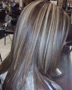 Chunky blonde highlights on dark brown hair