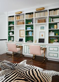See before and after pictures of interior designer Erika Bonnell's take on home office decor. She took this old-fashioned dark masculine office into a shared bright and cheerful space. Explore home office decor with bright colors on Domino. Home Library, Home Office Design, Home Office Decor, Bookcase, Furniture, Interior, Home Decor, House Interior, Bold Office Design
