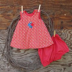 Baby Girl Dress, Red, White ,Blue, Button shoulder Embroidered  Dress with bloomers size 6 months