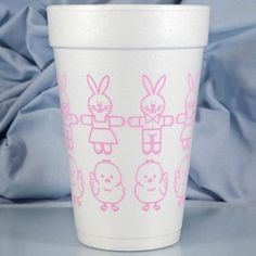 Printed & Ready to Ship 16 oz. Easter Foam Cups CHICKS & BUNNIES