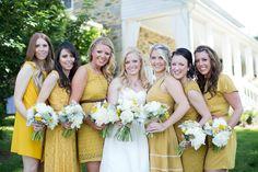 pretty 'maids all in yellow   Stephanie Fay #wedding