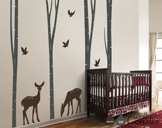 "Baby Nursery Wall Decals - Birch Trees Decal - Tree Wall Decal - Tree Wall Decals - Tree Wall Decal with Deer - Large: 100"" x 98"" - W022"