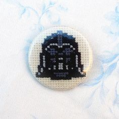Star Wars cross stitch pinback button Darth by PetipoaNeedleCraft