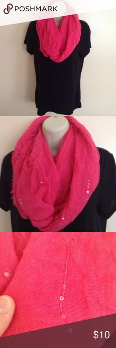 Pink Sequin Infinity Scarf This is a beautiful and warm scarf. Has sequins attached to it. Worn a few times but in excellent condition. Bought from Target. Target Accessories Scarves & Wraps