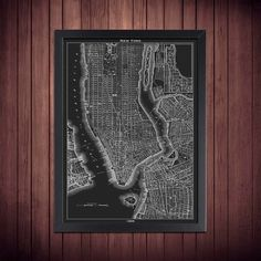 New York Poster - Vintage 1855 Black and White Map of NYC