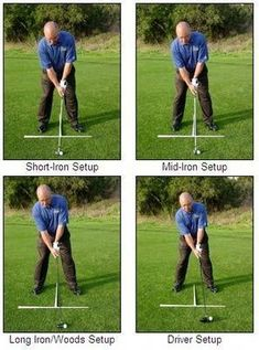 Golf Rules Putting it all together: good setup positions with different-length clubs. - Learn how to get a great golf setup position with this step-by-step guide to the stance that includes alignment, ball position, posture, balance, and more. Golf Handicap, Golf Stance, Best Golf Clubs, Golf Videos, Golf Instruction, Golf Tips For Beginners, Perfect Golf, Golf Training, Golf Quotes
