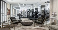 Equinox Gramercy opened December 22 at Park Avenue South and East Street. The new club is complete with yoga studios, a cycling studio, spa, . Luxury Gym, New Neighbors, Park Avenue, Equinox, Lounge, Studio, Table, Furniture, Image