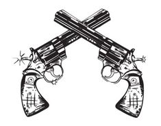Cool paired and crossed old revolver guns tattoo - Tattoos photos