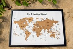 Ships within 1 business day with FREE domestic first class shipping!  - Scratch Your Travels™ with this gorgeous original watercolor map! Bright, bold & interactive wall art that will fit any 30 in x 20 in size frame. Use a coin to scratch off the foil to reveal the bright colors of the countries youve visited. Comes packaged in a sleek contemporary tube for easy gifting or storing. Makes a great gift for people who love to travel! - Framable: Fits any store bought 30 x 20 inch frame pe...