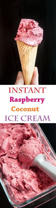 Raspberry Coconut Ice Cream Recipe (fruit, coconut milk, and a blender)