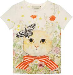 ea1d087acf1 Children s cat and flowers print T-shirt Gucci Kids