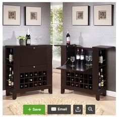 Nice Dark Brown Finish Wood Bar Cabinet With Fold Down Front Cabinet And Fold Up  Top For Storage And Service Areas.