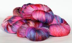 Merino, Cashmere, Nylon, 8 ply/ DK. Varigated. pink, purple by AngiesStudioYarn on Etsy