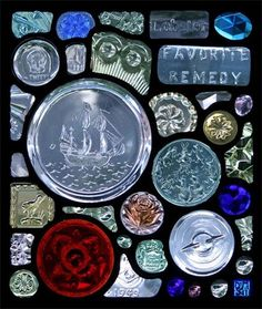 DOOR PANEL 1 for TUDOR : One of three door panels for a beautiful Tudor/Arts and Crafts hybrid house in Cambridge,MA My two favorite pieces in the panel are Peter Rabbits Garden Party to the right of the ship and Tweety to the upper left of the ship. This type of found object window also acts like a narrative about the client. I will include pieces that reflect their interests or what they are like.