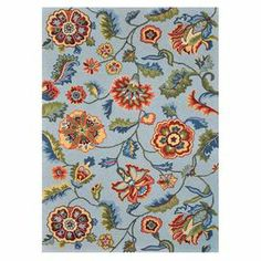"Showcasing a floral-inspired motif, this hand-hooked rug effortlessly anchors your dining table or living room seating group.48.95 J&M   Product: RugConstruction Material: 100% PolyesterColor: Blue and multiFeatures: Hand-hooked  Pile Height: 0.5"" Note: Please be aware that actual colors may vary from those shown on your screen. Accent rugs may also not show the entire pattern that the corresponding area rugs have.Cleaning and Care: Clean spills immediately by blotting with a clean sponge or…"