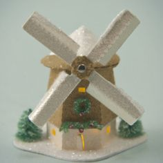 Items similar to Miniature Glitter House Kit - Windmill with Light on Etsy Christmas Villages, Christmas Home, Vintage Christmas, Christmas Crafts, Christmas Decorations, Christmas Ornaments, Holiday Decor, Christmas Glitter, Coastal Christmas