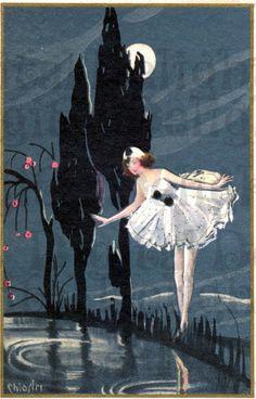 Lovely Columbine Sees Reflection. Vintage Art Postcard Illustration. Digital Download. Digital Print