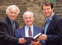 Author, Colin Dexter with his Morse characters, Inspector Morse, John Thaw, and Inspector Lewis, Kevin Whately