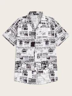 Shop Guys Newspaper Print Revere Collar Shirt at ROMWE, discover more fashion styles online. Newspaper Printing, Newspaper Design, Half Sleeves, Types Of Sleeves, Revere Collar, Collar Shirts, Men Shirts, Shirt Sale, New Print