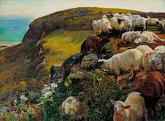 "William Holman Hunt was an English painter and one of the founders of the Pre-Raphaelite Brotherhood. His paintings were notable for their great attention to detail, vivid color, and elaborate symbolism. (""Strayed Sheep"" by William Holman Hunt) Dante Gabriel Rossetti, John Everett Millais, Pre Raphaelite Paintings, Thomas Gainsborough, William Hogarth, Pre Raphaelite Brotherhood, Sheep Art, Google Art Project, Tate Gallery"