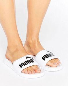 Puma Logo Slider Sandals In White