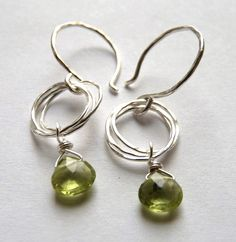 Sparkly Green Peridot Briolette Earrings with by shaylalalynn, $24.00
