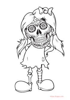 Scary Girl Halloween Coloring Page For Kids