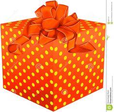 Orange Present With Yellow Polka Dots, Orange Bow