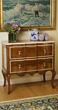 interior with Louis XV style two drawer chest with hand-painted antiqued light walnut finish; bedroom furniture ideas; interior design inspiration