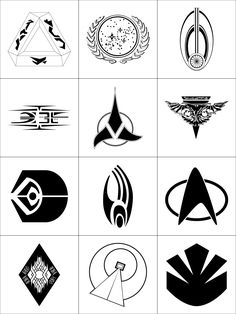 Star Trek logos: links back to original page with images free for download.  In order: (left to right, top to bottom)  Tholian,  United Federation of Planets,  Bajor,  Kazon,  Klingon Empire,  Romulan Star Empire,  Ferengi Alliance,  Borg,  Star Fleet,  Vidian Sodality,  Vulcan,  Maquis