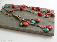 Cascade - Lariat Necklace - Red Coral, Turquoise and copper wire