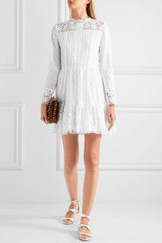 ValentinoPintucked broderie anglaise cotton-blend mini dress