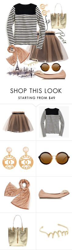 """""""I Love PARIS in the fall"""" by grinevagh ❤ liked on Polyvore featuring Yufash, J.Crew, Chanel, Tory Burch, Lanvin, Dorothy Perkins and Alexis Bittar"""