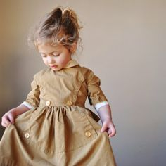 50's Russet Brown Girls Dress 18-24 months $26 at Etsy