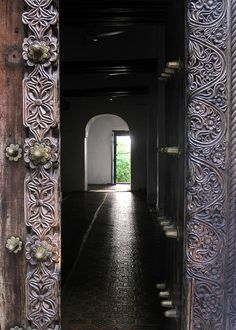 Carved Swahili mosque door - Lamu Archipelago, Kenya by david schweitzer,