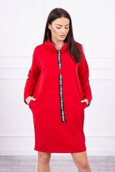 Červené teplákové šaty Bonjour Fashion Addict, Outfit Of The Day, Modeling, Street Wear, Cold Shoulder Dress, Street Style, Stylish, Lady, Womens Fashion