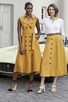 Inverted Triangle Outfits, Hobbs London, Dress Making Patterns, Professional Outfits, Online Dress Shopping, Linen Dresses, Work Fashion, Yellow Dress, Classy Outfits