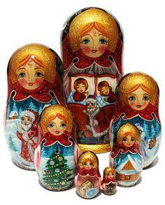 """""""Santa's Visit"""" Nesting dolls"""