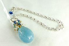 AquamarinePearlsKyaniteTopaz Silver Necklace by skyvalleyjewelry, $195.00