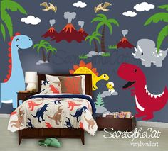 Nursery Wall Decal - Wall Decal Nurseryl - Dinosaurs world decal - custom name - Dinosaurs decal - Wall Decal - Dino decals - Nursery Decor