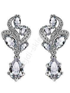 Earrings plated 18K white gold, zircon. Wedding and evening earrings. Kolczyki platynowane 18K białym złotem z cyrkonią z diamentowym szlifem | kolczyki wieczorowe, ślubne