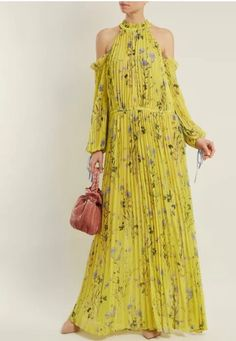 12f1e553582d7 NEW YELLOW Self portrait style Floral Chiffon Pleated cut shoulder MAXI  Dress (eBay Link)