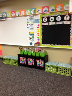 Classroom organization: I like the CAFE board.