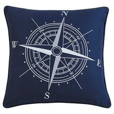 Compass Nautical Throw Pillow (18x18) - Seedlings by ThomasPaul® : Target