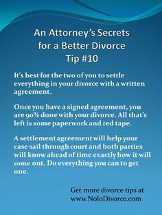 Divorce advice about settlement agreements from www.NoloDivorce.com