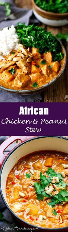 slightly spicy, chicken and peanut stew that can be eaten on its own, or with rice.A slightly spicy, chicken and peanut stew that can be eaten on its own, or with rice. Soup Recipes, Dinner Recipes, Cooking Recipes, Healthy Recipes, Spicy Food Recipes, Chicken And Kale Recipes, Peanut Butter Recipes, Dinner Dishes, Healthy Dishes